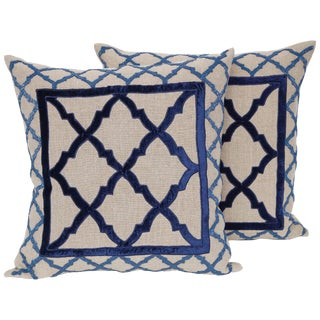 Mediterranean Linen Pillows With Bead and Velvet Trim - a Pair For Sale