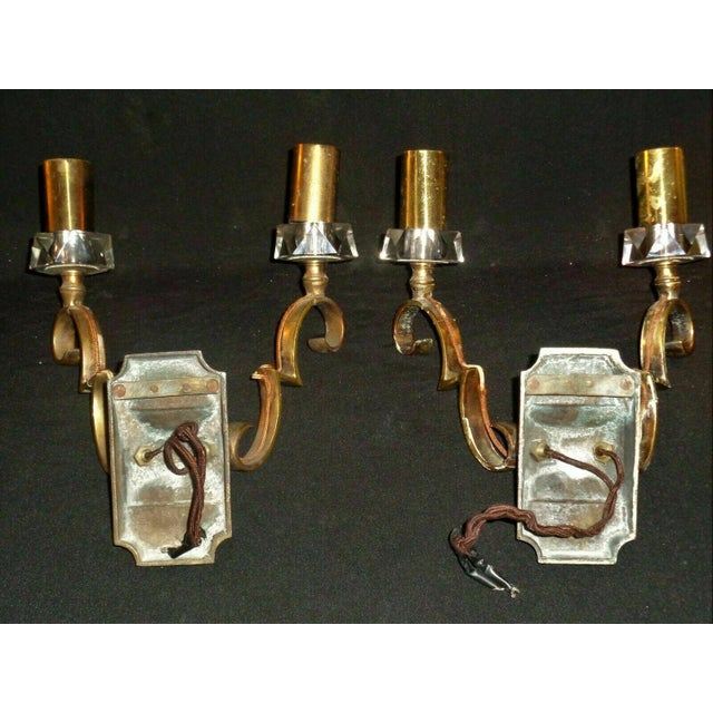 1930's French Art Deco Jules Leleu Gilt Bronze W/ Baccarat Crystal Documented Wall Sconces - a Pair For Sale - Image 11 of 13