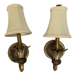 Hinkley Plantation Brass Pineapple Sconce Lights - a Pair For Sale