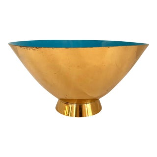 Modernist Brass & Turquoise Bowl For Sale