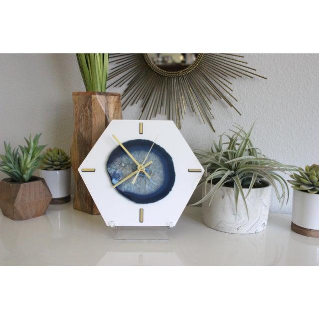 Modern Navy Blue SoLo Agate Large Desk Clock - Image 3 of 7