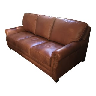 Klaussner Leather Nailhead Sofa For Sale