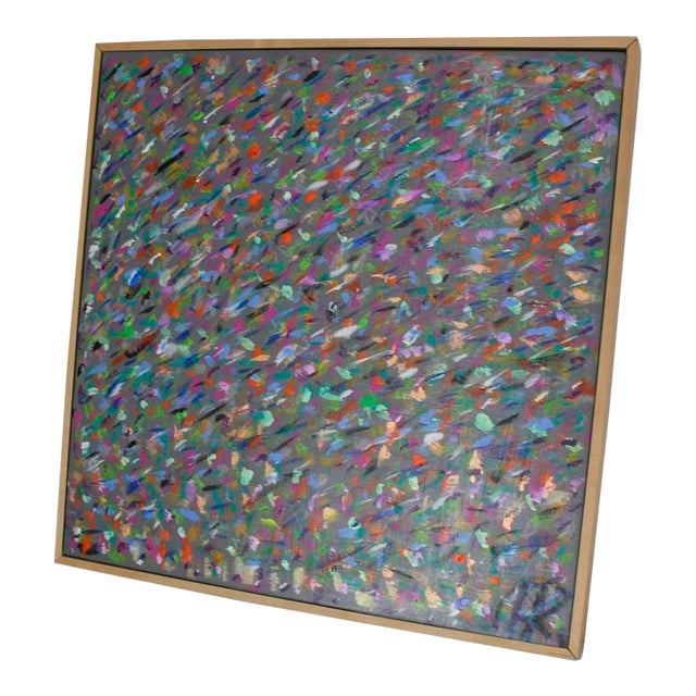 Square Abstract Modern Painting Artist Signed Herman Kahan For Sale