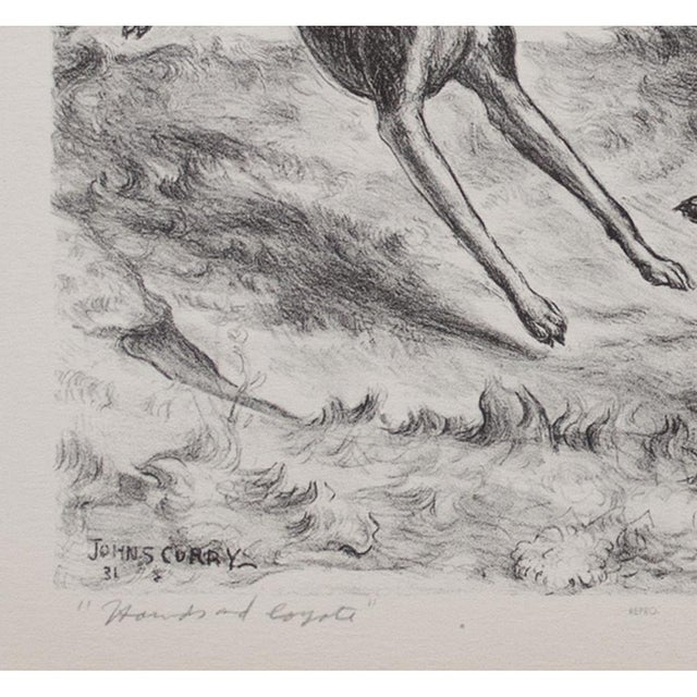 "1939 John Steuart Curry, Original Period ""Hounds and Coyote"" Photogravure For Sale - Image 4 of 9"