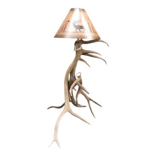 Antler Floor Lamp With Custom Hand Painted Shade For Sale