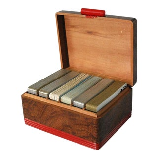 Vintage Wooden Playing Card Box & 6 Decks of Cards For Sale