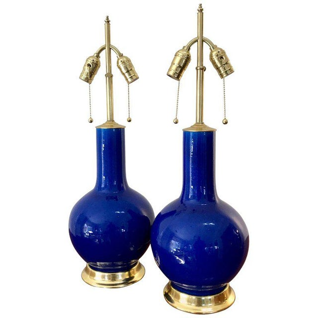 Blue Porcelain on 23-Karat Water Gilt Base Table Lamps - a Pair For Sale - Image 13 of 13
