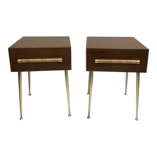 T.H. Robsjohn-Gibbings Walnut and Brass Nightstands - a Pair