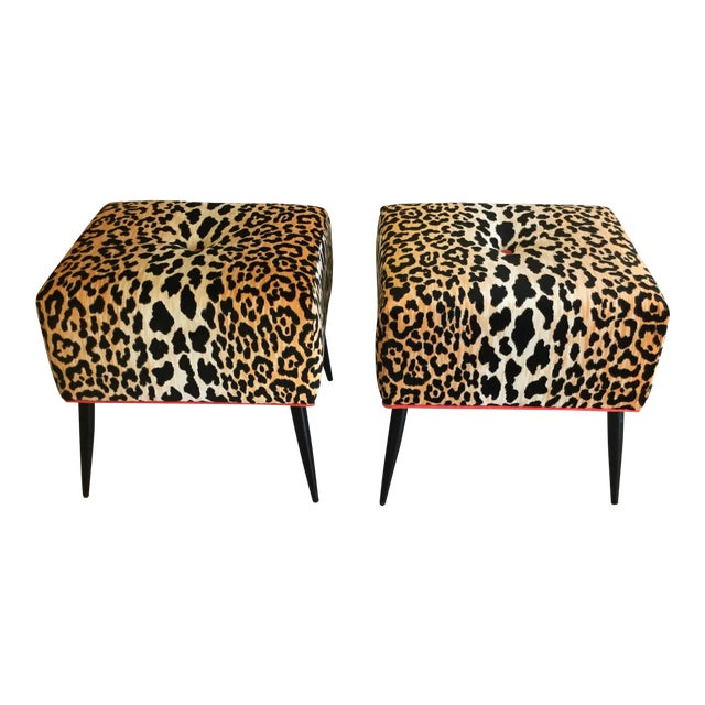 Home & Garden Ottomans, Footstools & Poufs Small Leopard Print Footstool Ottoman With Tassel Awesome Great Condition!!!