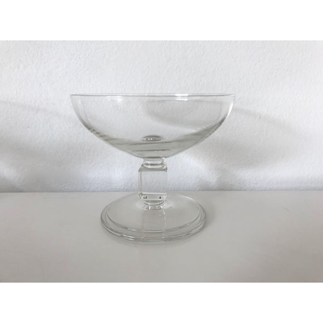Vintage Mid-Century Nevel Cube Stem Crystal Coupe Champagne Glasses by Val St. Lambert - Set of 8 For Sale In San Francisco - Image 6 of 10