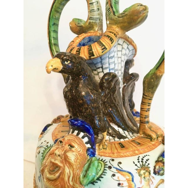 Exceptional Majolica Urn Vase For Sale - Image 5 of 10