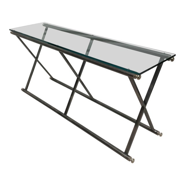 Post Modern Classicism Brushed Steel & Glass Console Table For Sale