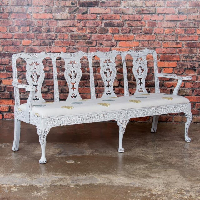 Early 19th Century Antique Light Gray Painted Swedish Gustavian Bench For Sale - Image 10 of 10