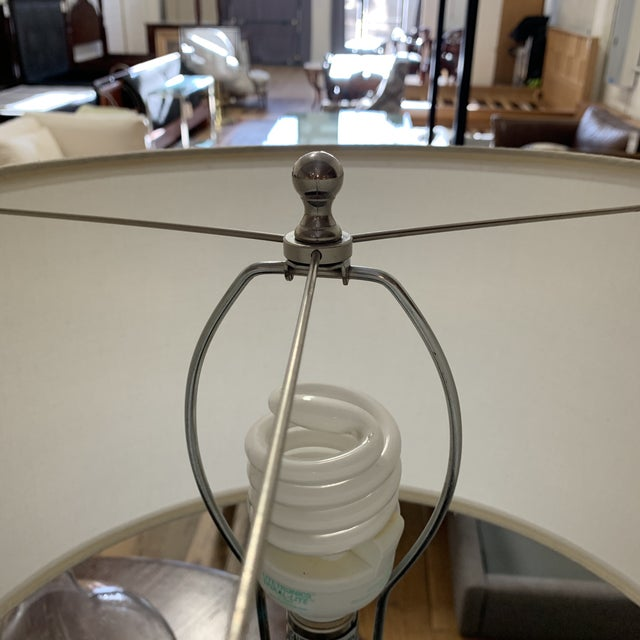 Ethan Allen Lattice Glass Table Lamp With Shade For Sale - Image 9 of 10