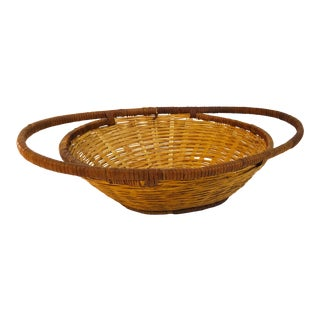 Vintage Oval Basket Tray With Handles For Sale