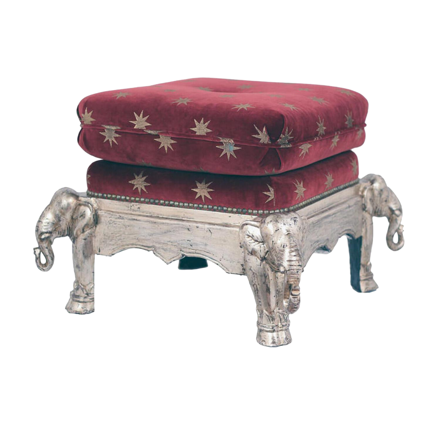 Vintage Asian Silver Lacquered Elephant Stool