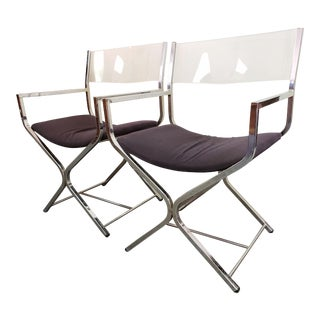 Mid-Century Vintage Robert Kjer Jacobsen Style Acrylic & Chrome Director's Chairs- a Pair For Sale