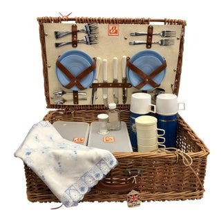 Vintage British Picnic Basket With Appointments For Sale