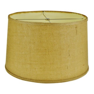 Vintage Grass Cloth Drum Lamp Shade For Sale