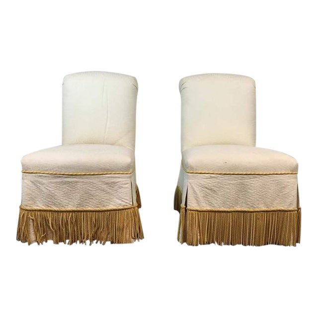 Contemporary White & Slipcovered Side Chairs - A Pair - Image 1 of 7