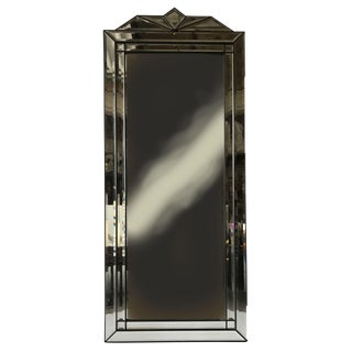 1950s French Art Deco Black Wood Frame Wall Mirror For Sale