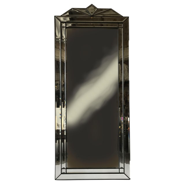 1950s French Art Deco Black Wood Frame Wall Mirror | Chairish