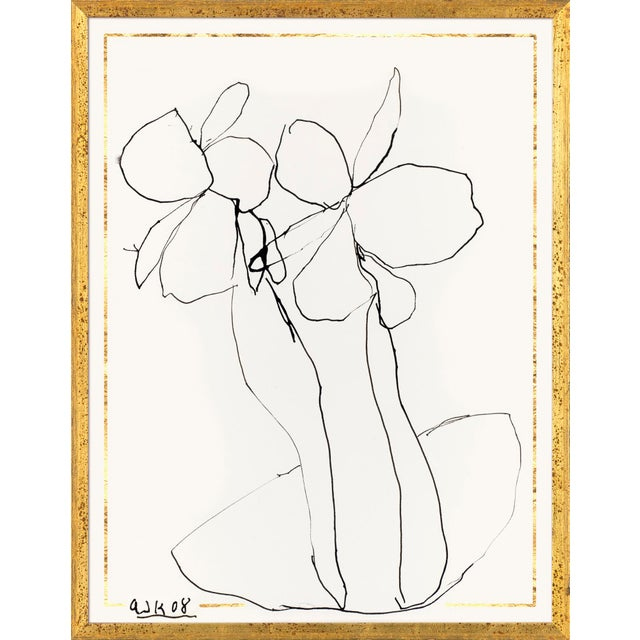 Contemporary Ink Flower 4 Art Print in Gold Frame For Sale - Image 3 of 3