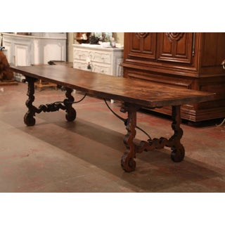 Mid-19th Century Spanish Carved Elm and Wrought Iron Dining Room Table Preview