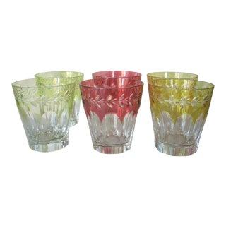 """1980s Cased Crystal """"Rocks"""" Glasses - Set of 6 For Sale"""