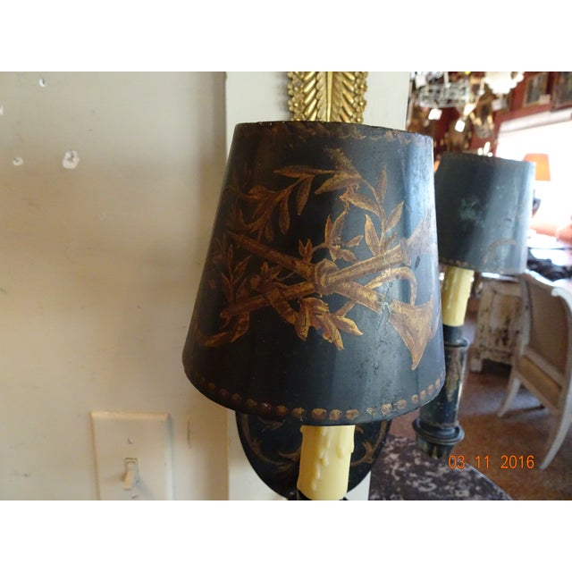 Metal 19th Century French Pair of Painted Tole Sconces For Sale - Image 7 of 10