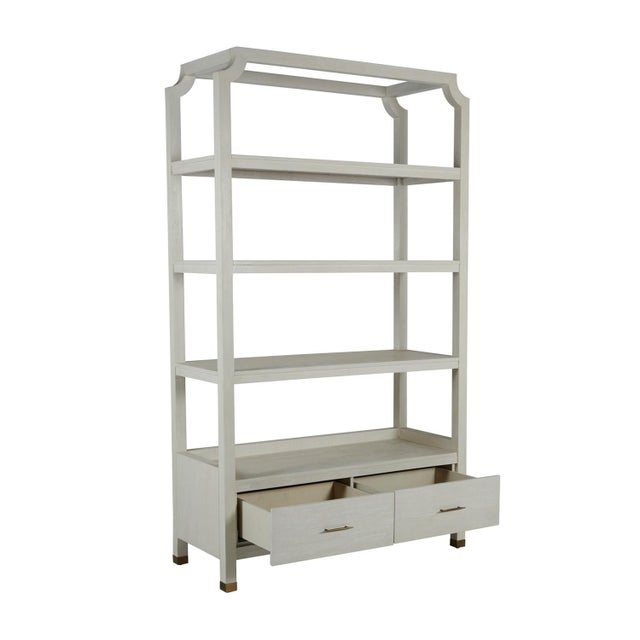 With a minimal silhouette, open shelving, plus closed storage, this unit is a practical and beautiful addition in any...