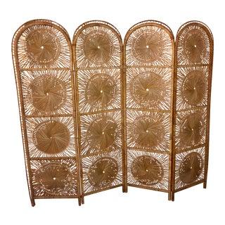 Vintage 4 Panel Rattan Screen Room Divider For Sale