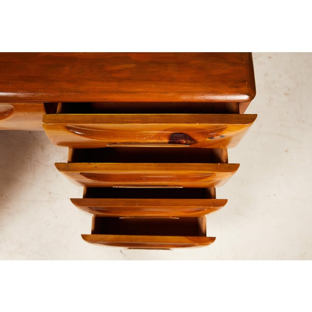 Brown Midcentury Sculptured Pine Desk by the Franklin Shockey Company For Sale - Image 8 of 13