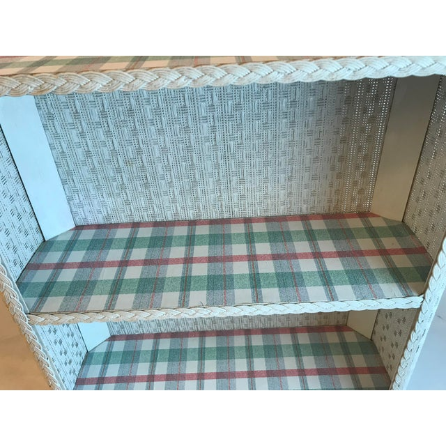 Cottage White Wicker Hanging 2 Tier Wall Shelf For Sale In Dallas - Image 6 of 8