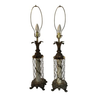 Rococo Traditional Metal Lamps - a Pair For Sale