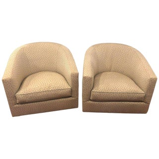 Pair of Milo Baughman Style Swivel Chairs in a Fine A, Schneller Sons Upholstery For Sale