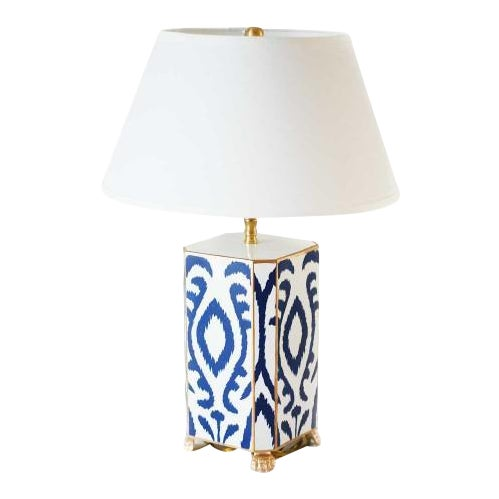 Navy & White Ikat Tole Table Lamp - Image 1 of 3