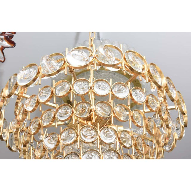 Gold Gold Plate and Crystal Chandelier by Palwa For Sale - Image 8 of 12