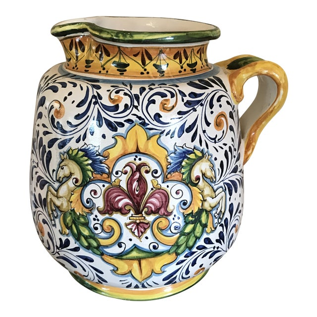 Blue and Yellow Hand-Painted Italian Ceramic Vessel For Sale
