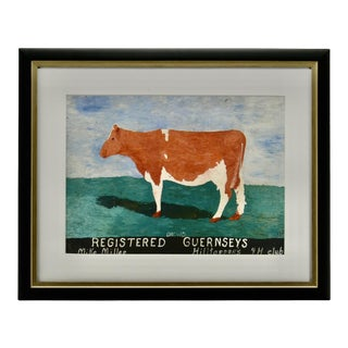 Cow Print in Frame Texas Wall Decor For Sale