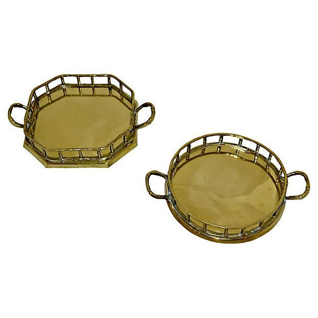 Brass Faux Bamboo Trays - A Pair - Image 2 of 5
