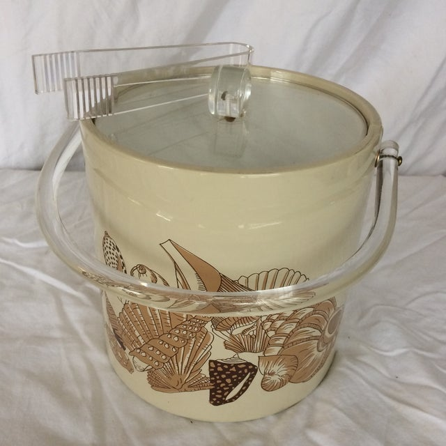 Contemporary Sigma Lucite & Vinyl Seashell Ice Bucket & Tongs - 1970's For Sale - Image 3 of 13