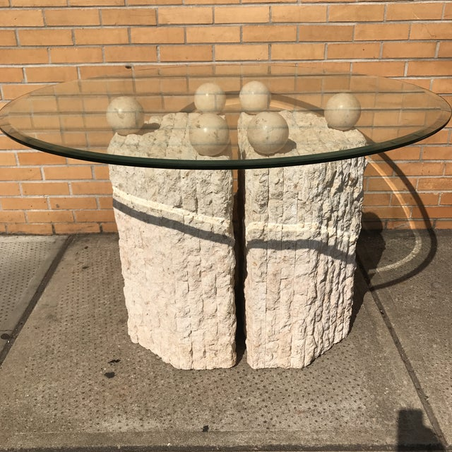 Glass Coquina & Stone Glass Top Dining Table For Sale - Image 7 of 7