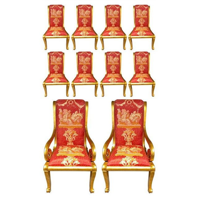 Ten Neoclassical Dining Chairs in Fine Versace Style Fabric For Sale - Image 12 of 12