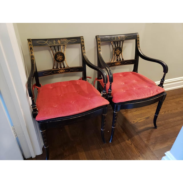 Caning 1920s Vintage Regency Style Black and Gold Arm Chairs- A Pair For Sale - Image 7 of 7