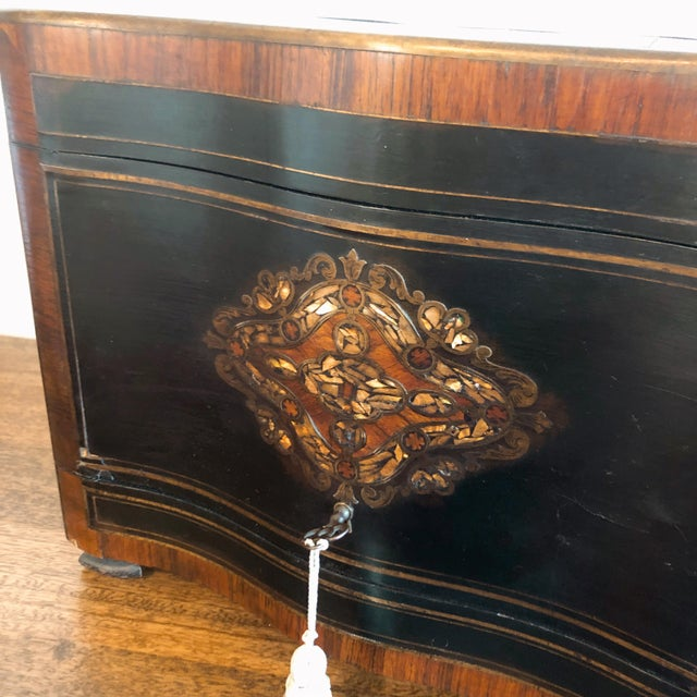 English 19th Century French Ebony and Rosewood Tantalus Liquor Cabinet For Sale - Image 3 of 13