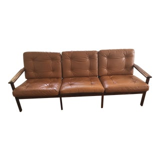 'Capella' 3-Sits Cognac Leather Danish Design Sofa by Illum Wikkelso