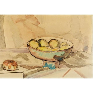 Modernist Still Life Watercolor Painting For Sale