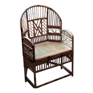 Vintage Brighton Chinoiserie Style Rattan Bamboo Chair For Sale
