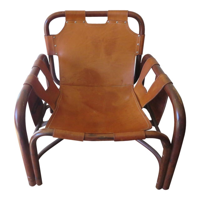 Italian Vera Pelle Leather & Bamboo Safari Chair For Sale